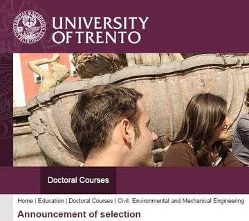 N. 3 (three) PhD Scholarships co-sponsored by FEM - Doctoral Programme of the University of Trento - deadline August 25, 2016